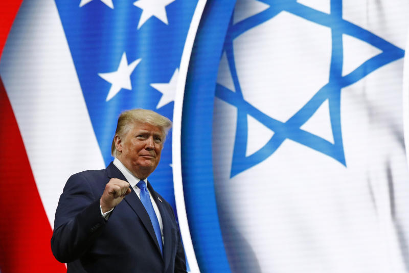 President Donald Trump walks onstage to speak at the Israeli American Council National Summit in Hollywood, Fla., Saturday, Dec. 7, 2019. (Photo: Patrick Semansky/AP)