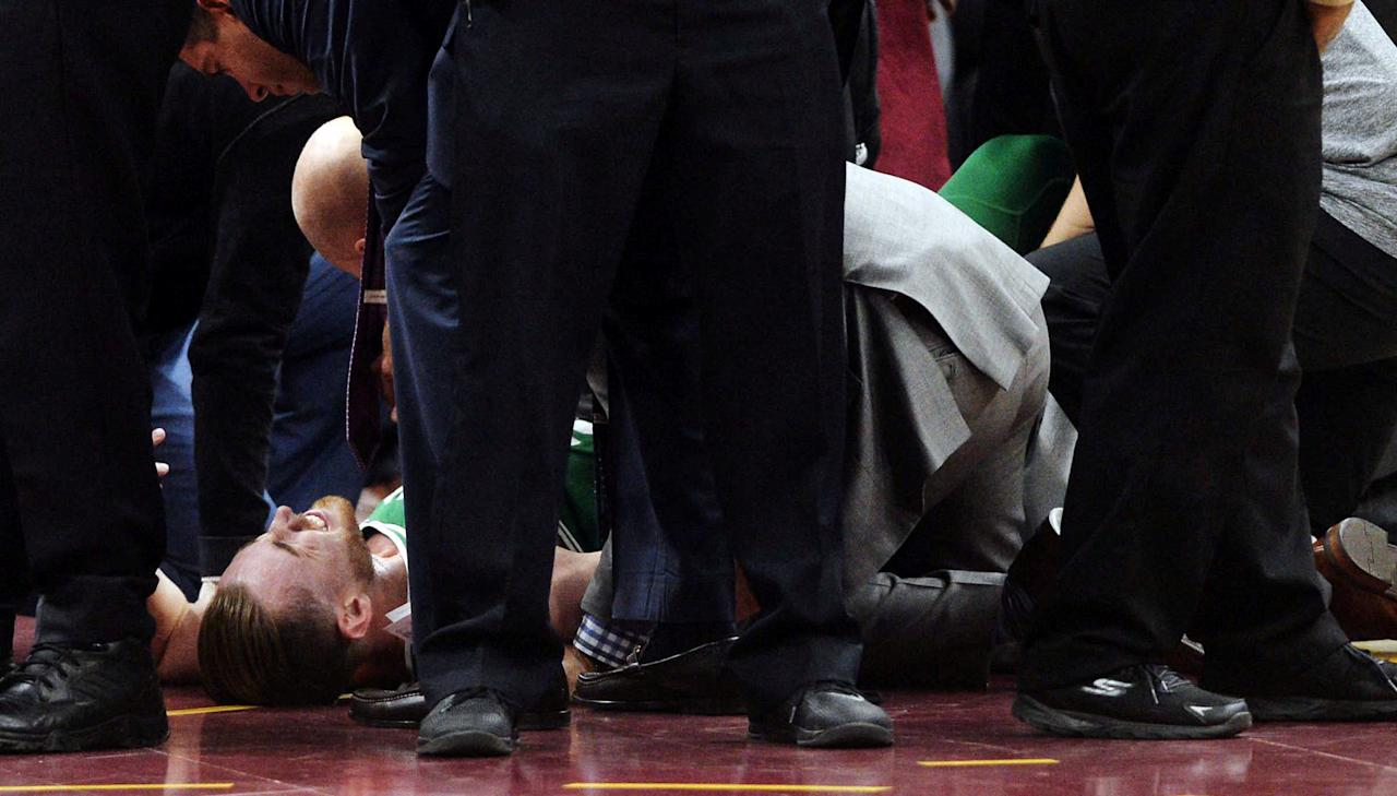 Oct 17, 2017; Cleveland, OH, USA; Boston Celtics forward Gordon Hayward (20) lays on the court after injuring his ankle during the first half against the Cleveland Cavaliers at Quicken Loans Arena. Mandatory Credit: Ken Blaze-USA TODAY Sports     TPX IMAGES OF THE DAY