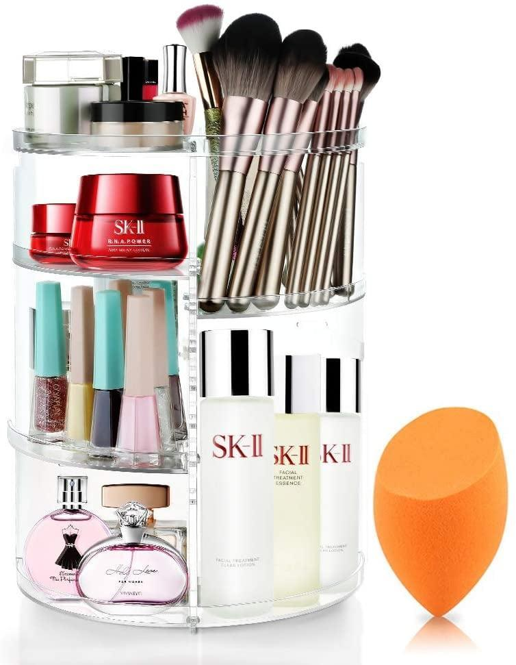 <p>They can easily access brushes, nail polish, perfume, and more when they have this <span>Rotating Makeup Organizer</span> ($21).</p>