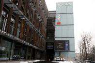 Private publisher Agora building is pictured with the slogan displayed on the screen 'Media without choice' in protest against a proposed media advertising tax that outlets say threatens the industry's independence and its diversity of views at their headq