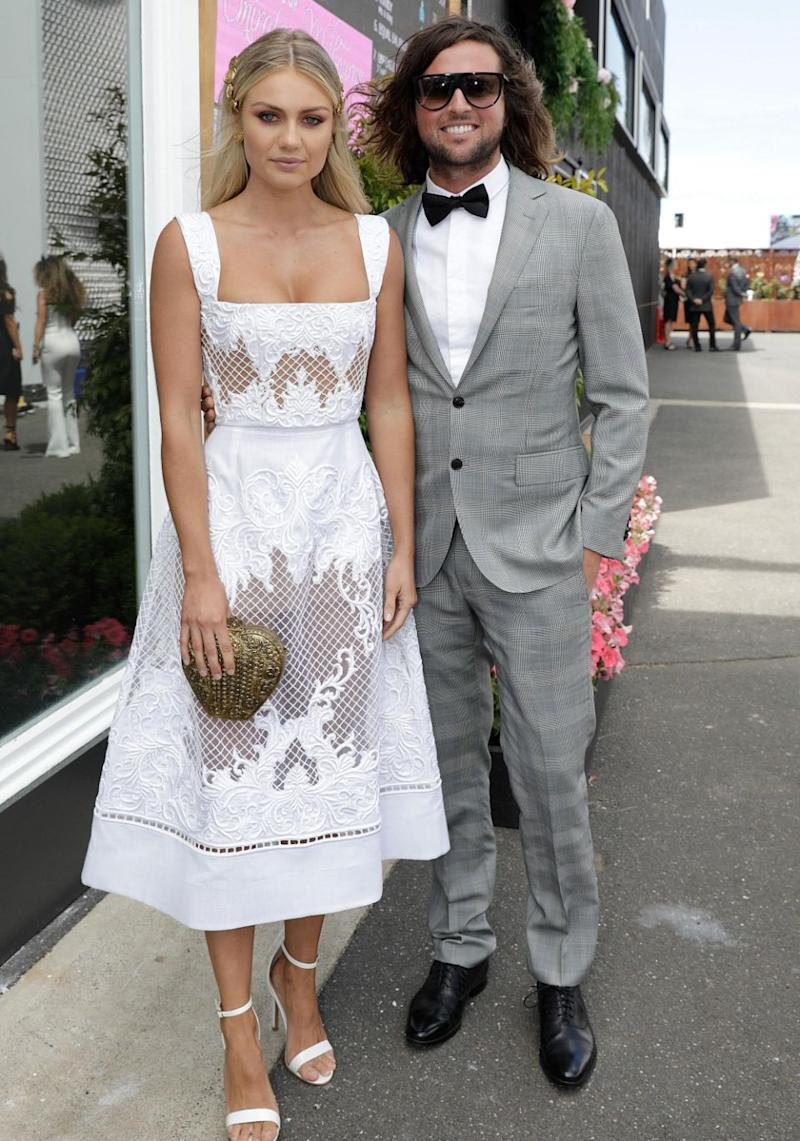 Elyse was dressed to impress for Derby Day with Josh on Saturday. Source: Getty
