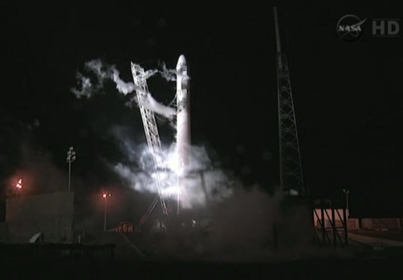 This framegrab from NASA-TV shows the Falcon 9 SpaceX rocket on the launch pad at complex 40 at the Cape Canaveral Air Force Station in Cape Canaveral, Fla., seconds after the launch was aborted due to technical problems early Saturday May 19, 2012. The launch is rescheduled for Tuesday morning May 22, 2012 at 3:44 a.m. EDT (AP Photo/NASA)