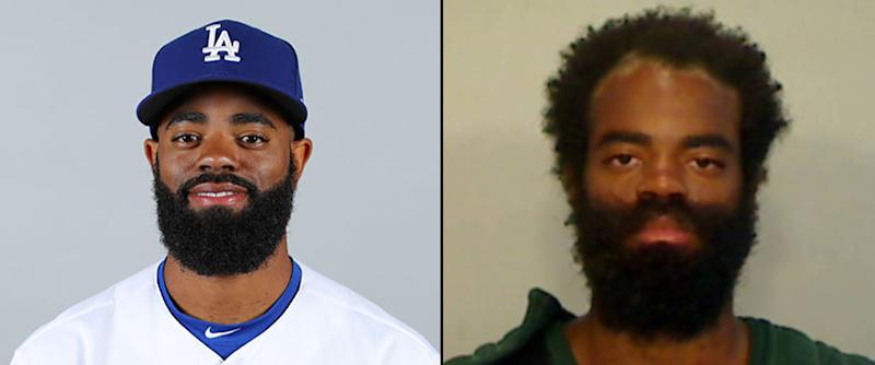Andrew Toles in 2018 with the Dodgers and after his arrest this week in Key West, Fla. (Getty Images / Monroe County Sheriff's Office)