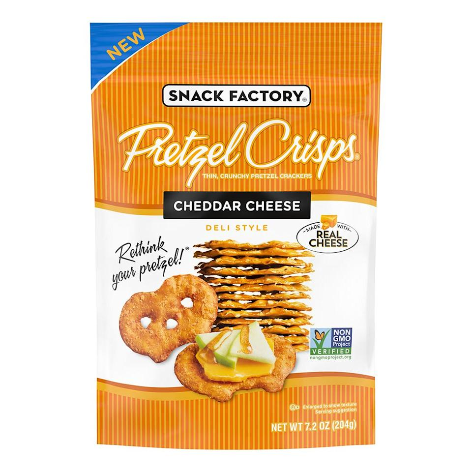 "<p></p><p><strong>Release date:</strong> September 2020</p><p></p><p><a class=""body-btn-link"" href=""https://www.kroger.com/p/snack-factory-cheddar-cheese-pretzel-crisps/0004950825166"" target=""_blank"">SHOP NOW</a></p><p>The latest flavor from Pretzel Crisps has real cheddar cheese baked into the pretzels, so you get that real cheesy flavor paired with the crunch. The 7.2-ounce bags are available at retailers, including Kroger, nationwide, for $3.29. Who ever said pretzels are a boring snack are about to be pleasantly surprised by <a href=""https://www.kroger.com/p/snack-factory-cheddar-cheese-pretzel-crisps/0004950825166"" target=""_blank"">Pretzel Crisps Cheddar Cheese</a>.<br></p>"