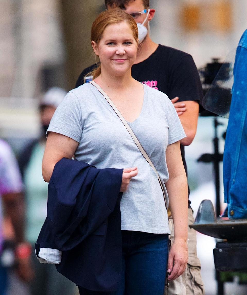 <p>Amy Schumer films a scene with Michael Rapaport on the set of <em>Life & Beth</em> on Wednesday in N.Y.C.</p>
