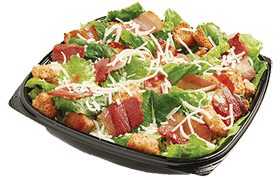 """<p>The bacon Caesar entree salad features fresh romaine lettuce, bacon strips, parmesan cheese, and Homestyle croutons — it packs in 27 grams of fat (9 grams saturated) and 910 mg of sodium —this <strong>is without dressing.</strong> Even getting this salad as a side dish to your pizza will pack on an extra 13 grams of fat and 460 mg of sodium.<br><br><strong>Serving size: 244 g</strong><br> — Calories: 350<br> — Fat: 27 g (Saturated Fat 9 g)<br> — Carbohydrates: 14 g <br> — Sodium: 910 mg <br> — Sugar: 3 g <br> — Protein: 13 g<br> — Source/Photo: <a href=""""http://www.pizzapizza.ca/nutrition/"""" rel=""""nofollow noopener"""" target=""""_blank"""" data-ylk=""""slk:Pizza Pizza Canada"""" class=""""link rapid-noclick-resp"""">Pizza Pizza Canada</a><br><br><strong>TRY THIS INSTEAD:</strong> Pizza Pizza grilled chicken Caesar salad (Fat: 6 g/Sat. Fat 2.5 g/Sodium: 440 mg) </p>"""