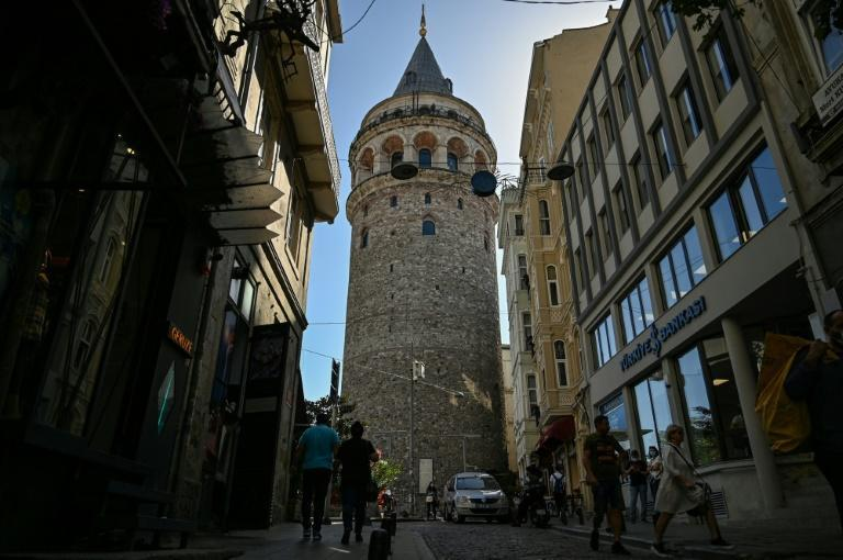 Workers took a jackhammer to one wall of Istanbul's Galata Tower in August
