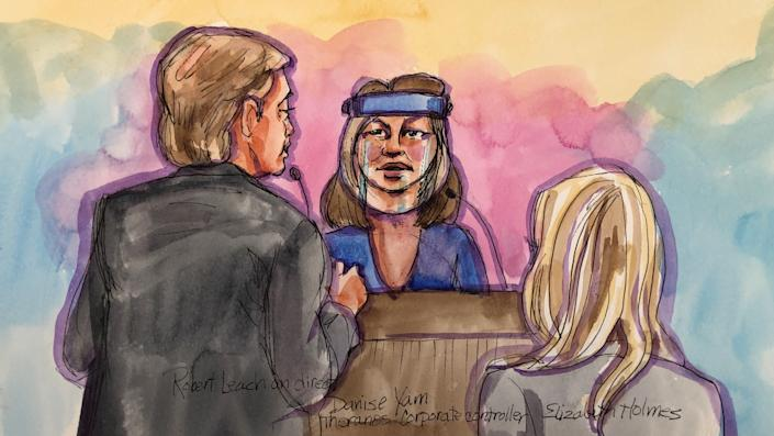 A witness testifies during the trial of Theranos founder Elizabeth Holmes at Robert F. Peckham U.S. Courthouse in San Jose, California, U.S., September 8, 2021 in this courtroom sketch.  REUTERS/Vicki Behringer