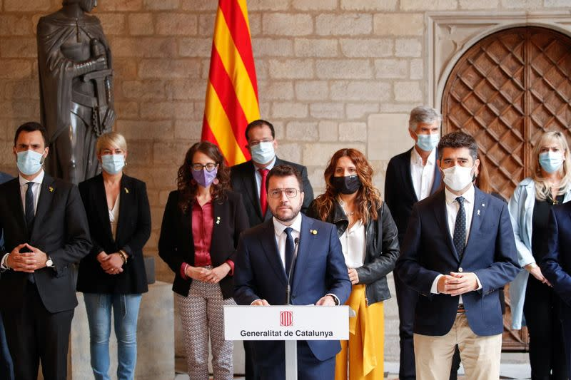 Catalonia's regional President Pere Aragones gives a news conference in Barcelona