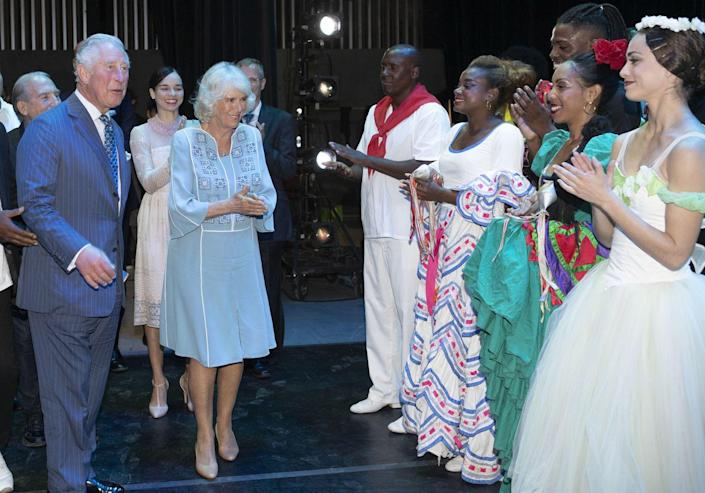 <p>The Duchess of Cornwall wore a blue shift dress, that featured white piping and geometric embroidery on the front, for a visit to the Gran Teatro de La Habana Alicia Alonso in Havana. </p>