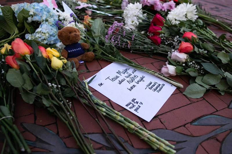 Flowers are laid near the entrance of Barnard College on December 12, 2019 in New York City. | Getty Images—2019 Getty Images