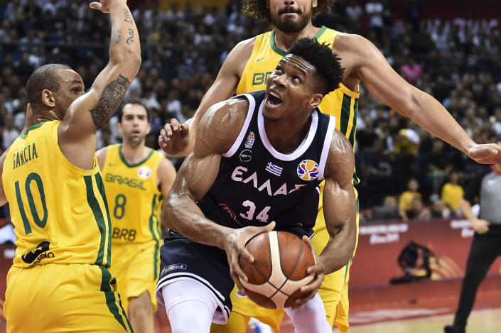 "<a class=""link rapid-noclick-resp"" href=""/nba/players/5185/"" data-ylk=""slk:Giannis Antetokounmpo"">Giannis Antetokounmpo</a> has been unusually quiet during the FIBA World Cup. (Photo by VCG/VCG via Getty Images)"
