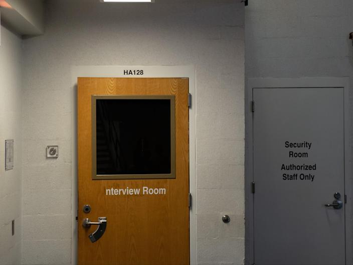 Pictured is an interview room in an ICE detention centre (AFP via Getty Images)