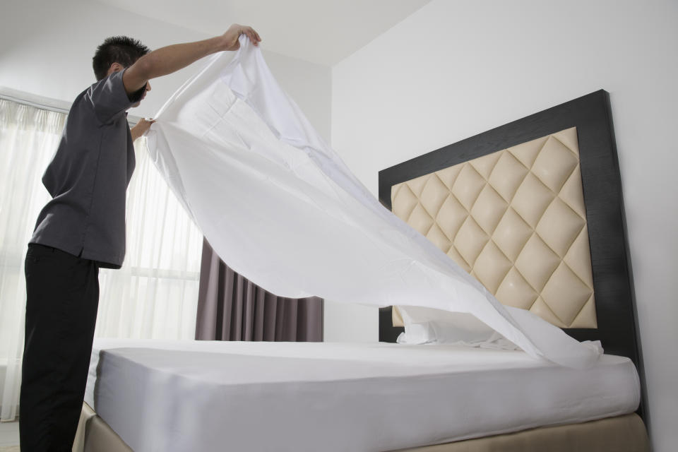 New research suggests a third of men have never change their own bed sheets. (Getty Images)