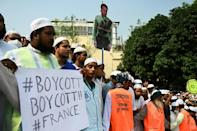 Activists and supporters of the Islami Andolon Bangladesh, a Islamist political party, called for a boycott of French goods