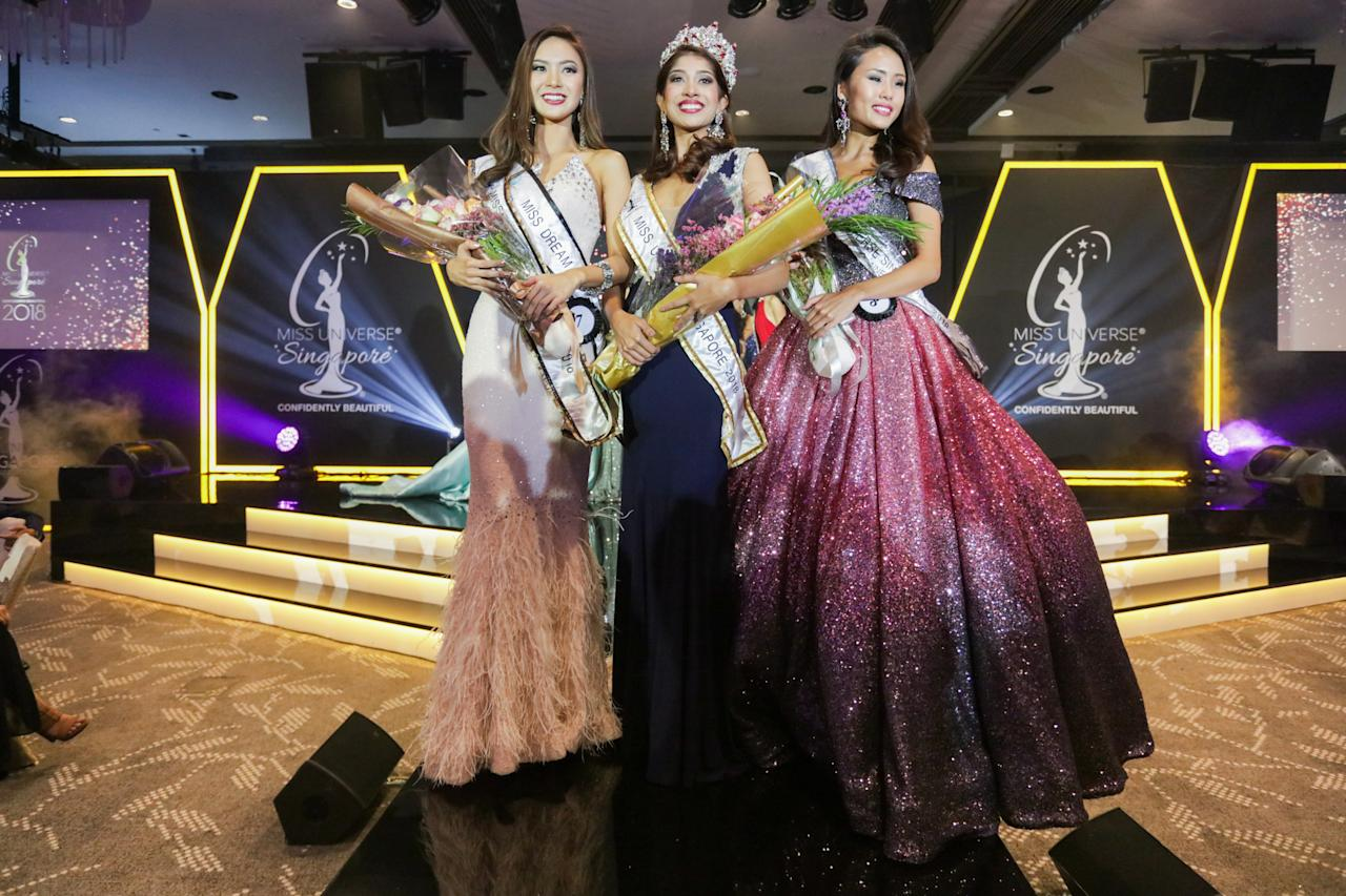 <p>(From left) Second runner-up Jaslyn Tan, Miss Universe Singapore 2018 winner Zahra Khanum and first runner-up Tiong Jia En at the Miss Universe Singapore Grand Finale at One Farrer Hotel on 31 August 2018. (PHOTO: Don Wong for Yahoo Lifestyle Singapore) </p>