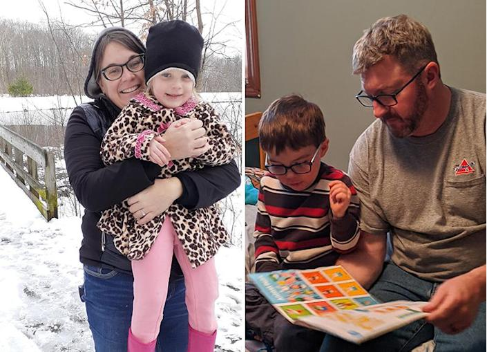 Virginia Dressler with her 3-year-old daughter, Gillian Hall, and her husband, Brandon Hall, with Gillian's twin brother, Winston. (Virginia Dressler)