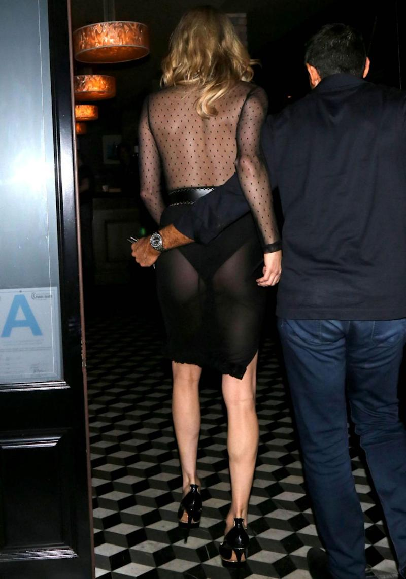 The see-through skirt element of the dress revealed her underwear as she confidently strutted her stuff. Source: Getty