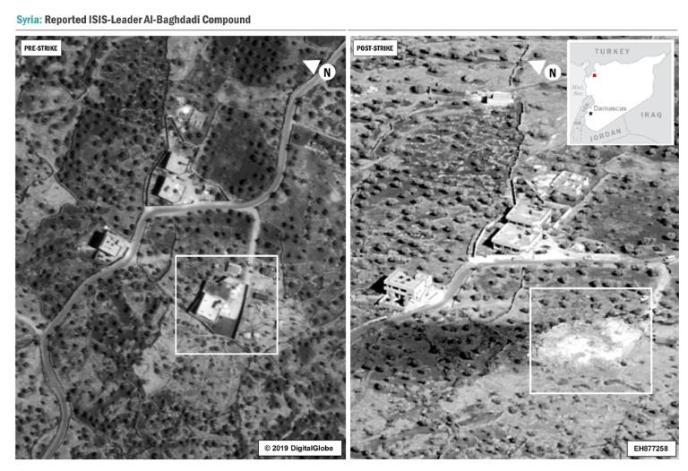 This image released by the US Department of Defense shows before (L) and after (R) pictures of the compound in Syria where Islamic State group leader Abu Bakr al-Baghdadi died in a US raid (AFP Photo/HO)