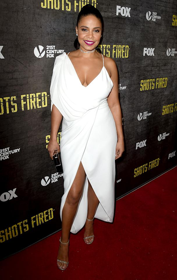 <p>The actress was white-hot upon arriving at an L.A. screening for her new show, <em>Shots Fired, </em>wearing a slinky dress that showed just enough skin without giving <em>too</em> much away.(Photo: Kevin Winter/Getty Images) </p>