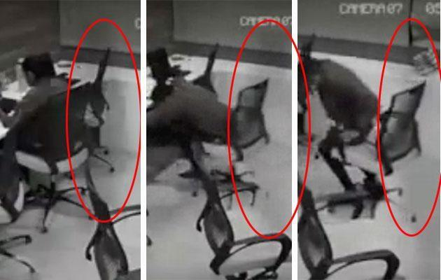 A ghostly figure can be seen pulling her chair out. Photo: Facebook
