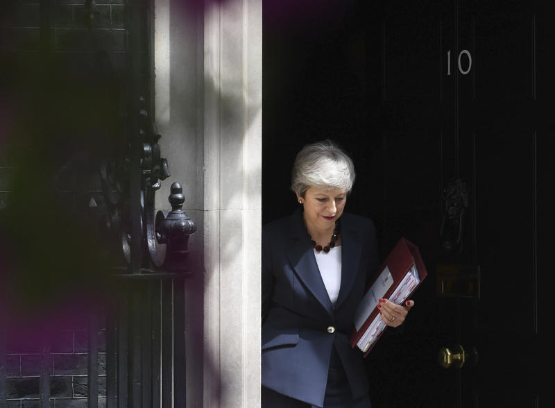 Britain's Prime Minister Theresa May leaves 10 Downing Street to attend Prime Minister's Questions last week. (Stefan Rousseau/PA via AP)