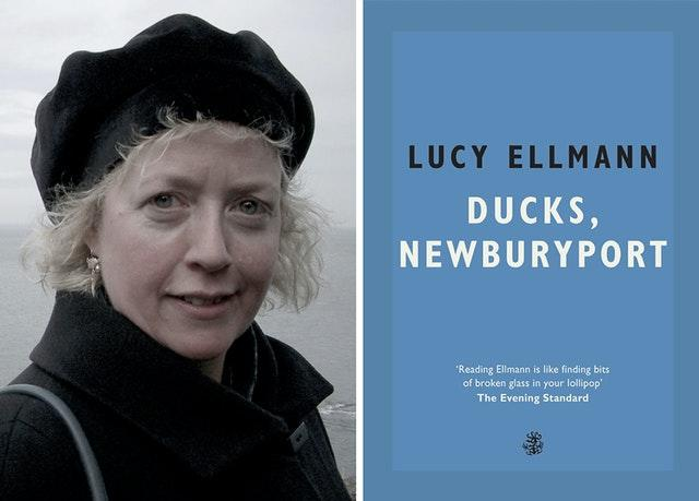 Lucy Ellmann with the front cover of her book, Ducks, Newburyport