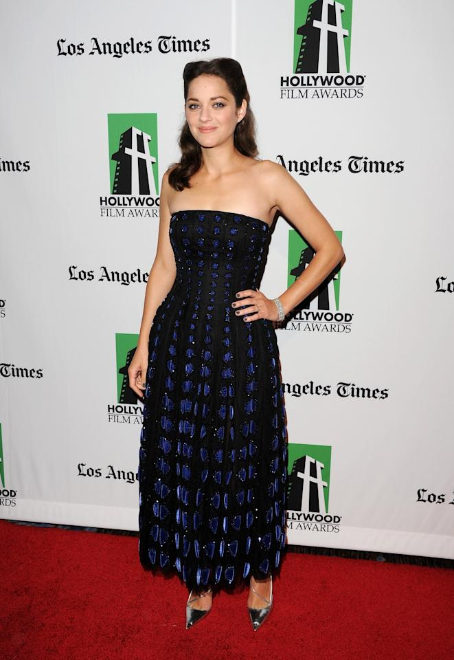 BEVERLY HILLS, CA - OCTOBER 22:  Actress Marion Cotillard arrives at the 16th Annual Hollywood Film Awards Gala presented by The Los Angeles Times held at The Beverly Hilton Hotel on October 22, 2012 in Beverly Hills, California.  (Photo by Jason Merritt/Getty Images)