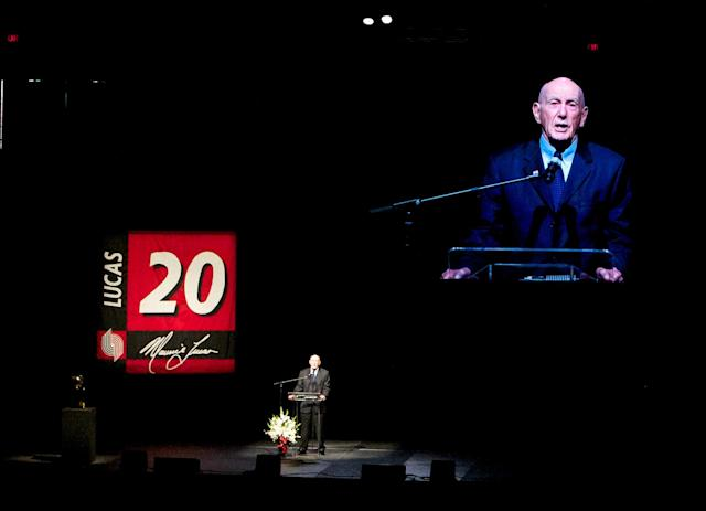 FILE - In this Monday Nov. 8, 2010, file photo, former Portland Trail Blazer coach Jack Ramsay speaks at a memorial service for former Portland Trail Blazer Maurice Lucas at Memorial Coliseum, in Portland, Ore. Ramsay, a Hall of Fame coach who led the Portland Trail Blazers to the 1977 NBA championship before he became one of the league's most respected broadcasters, has died following a long battle with cancer. He was 89. (AP Photo/The Oregonian, Bruce Ely, File)