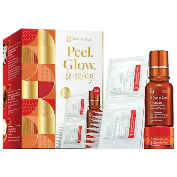 <p>The <span>Dr. Dennis Gross Skincare Peel. Glow. Be Merry.</span> ($96) pack includes a 21-day supply of the brand's bestselling peel pads and a collagen cream and serum, too.</p>