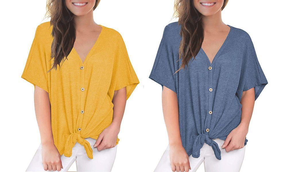 The Miholl Tie-Front Blouse is the ultimate top you never knew you needed — until now.  (Photo: Amazon)