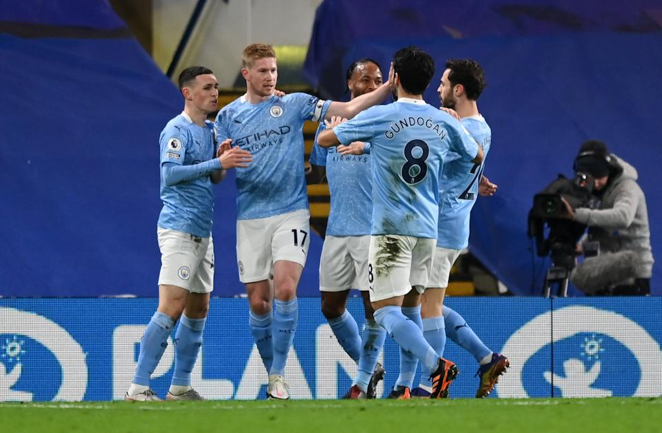Kevin De Bruyne (second left) scored Man City's third (Getty Images)