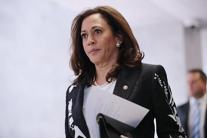 Sen. Kamala Harris heads to a Senate Intelligence Committee meeting in 2017. (Chip Somodevilla/Getty Images)