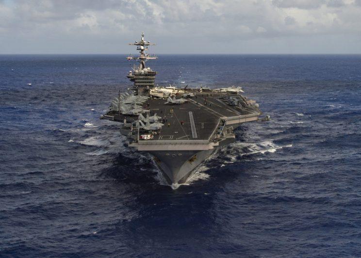 The aircraft carrier USS Carl Vinson, one of the United States is deploying to the Korean Peninsula. (Handout via Reuters)