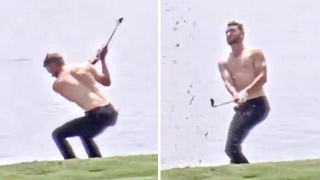 American Kevin Dougherty removed his shirt for a shot in the water. (Image: Web.com)