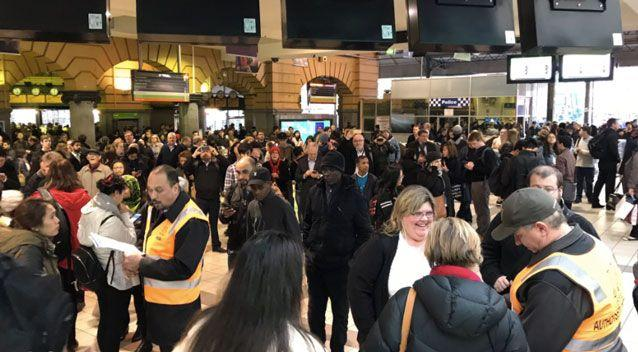 Flinders Street station was full of people during the suburban train suspension. Photo: Twitter