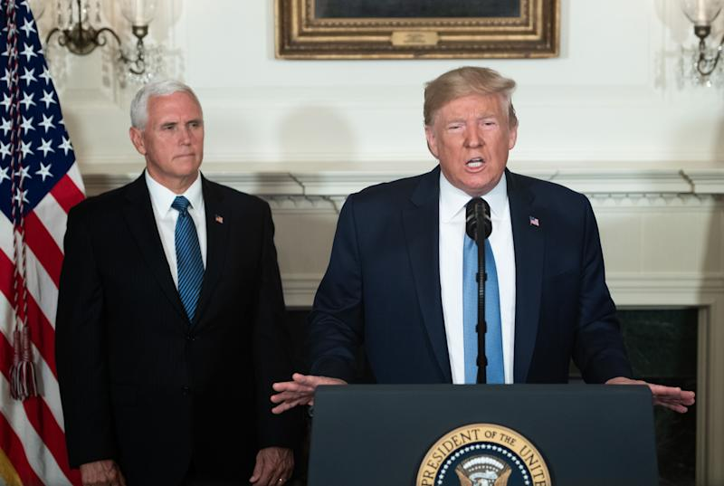 US President Donald Trump speaks alongside Vice President Mike Pence about the mass shootings from the Diplomatic Reception Room of the White House in Washington, DC, August 5, 2019. (Photo: Saul Loeb/AFP/Getty Images)