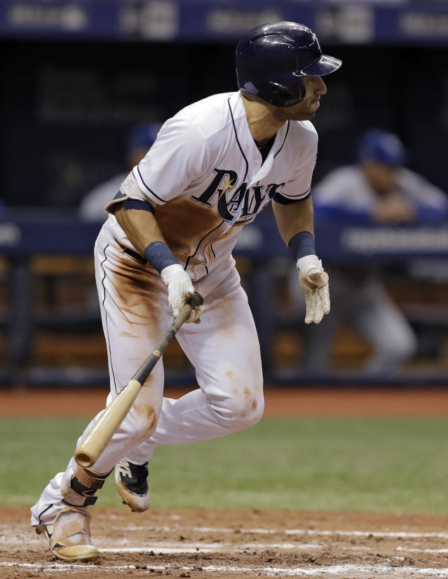 Tampa Bay Rays' Kevin Kiermaier watches his single off Kansas City Royals relief pitcher Jake Newberry during the sixth inning of a baseball game Monday, Aug. 20, 2018, in St. Petersburg, Fla. (AP Photo/Chris O'Meara)