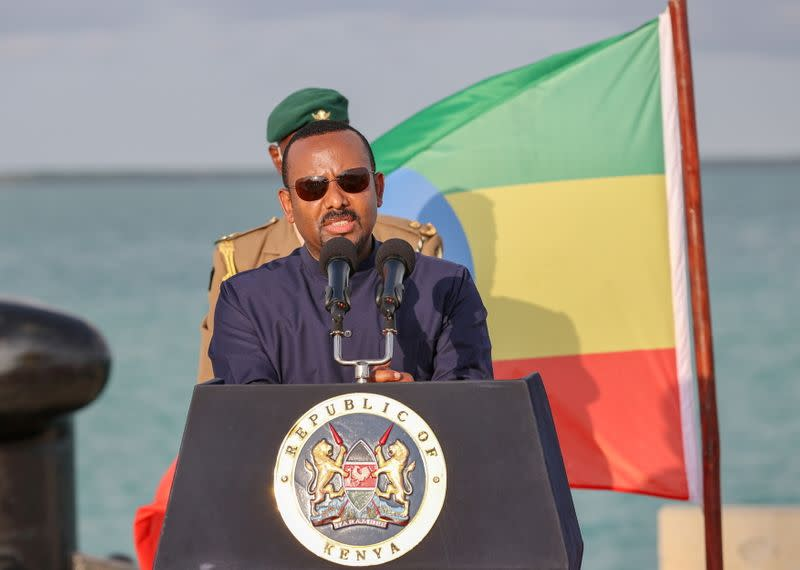 FILE PHOTO: Ethiopian Prime Minister Abiy Ahmed address the media after inspecting ongoing developments at the new 32-berth Lamu Port in Lamu County