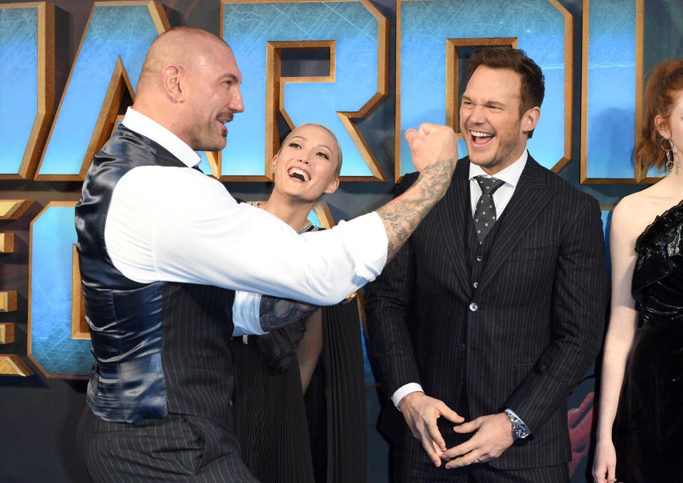 Chris Pratt said he was using sleeping pills when he challenged co-star Dave Bautista to a wrestling match. (Karwai Tang/WireImage)