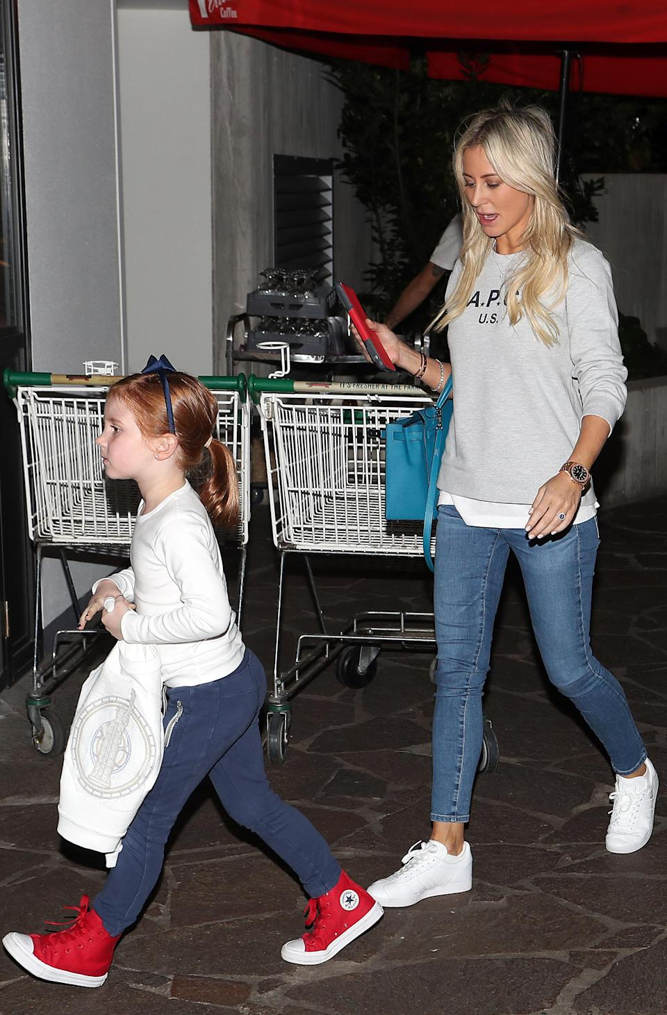 Roxy looked casual in jeans as she was joined by her daughter, five-year-old Pixie.