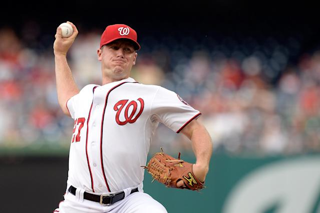 WASHINGTON, DC - JULY 01: Jordan Zimmermann #27 of the Washington Nationals throws a pitch in the first inning during a game against the Milwaukee Brewers at Nationals Park on July 1, 2013 in Washington, DC. (Photo by Patrick McDermott/Getty Images)