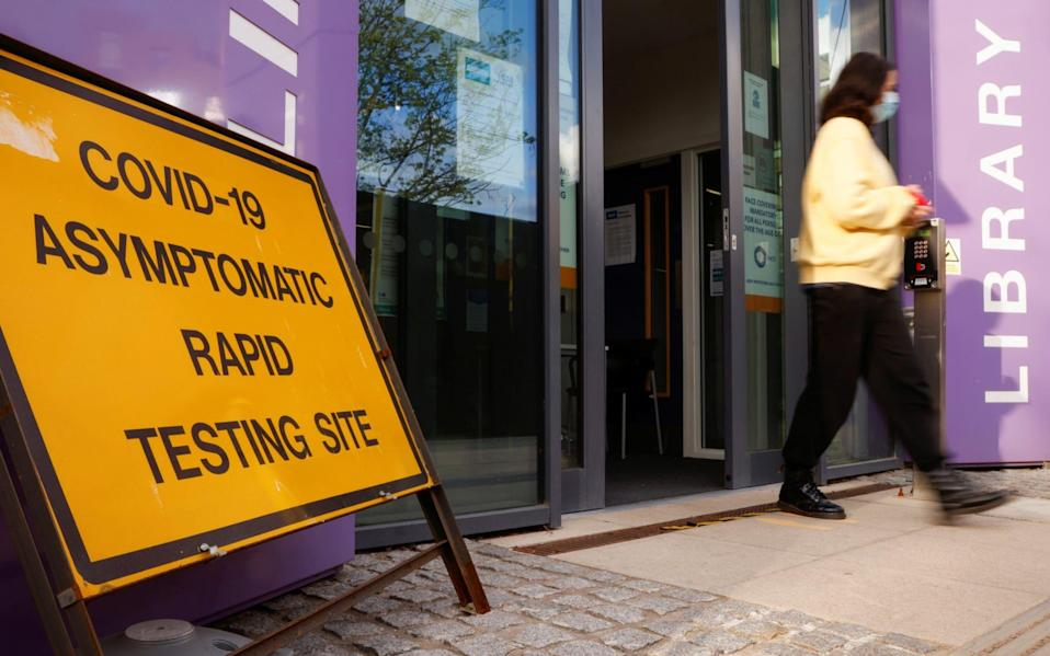A Covid testing centre in Barnet, north London, set up after the emergence of South African variant cases - John Sibley/Reuters
