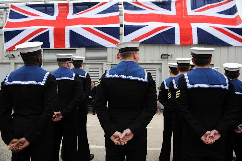 British submariners pictured during a ceremony at Faslane Naval Base in Scotland on March 18, 2016
