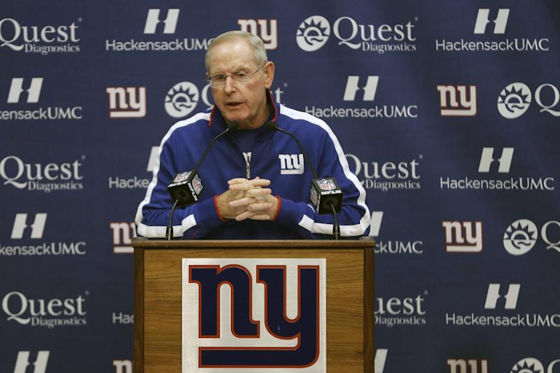New York Giants head coach Tom Coughlin talks during media availability before the start of NFL football practice, Wednesday, Sept. 25, 2013, in East Rutherford, N.J. (AP Photo/Julio Cortez)
