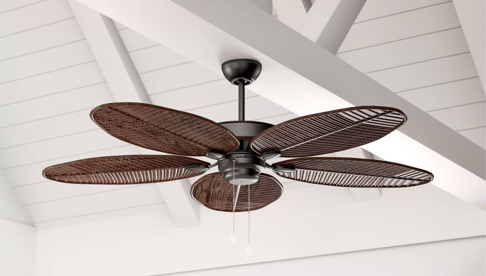 Bring a tropical feel to your outdoor space, with this gorgeous leaf-blade ceiling fan. (Photo: Wayfair)