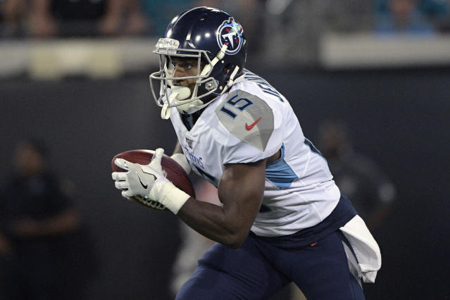 FILE - In this Sept. 19, 2019, file photo, Tennessee Titans' Darius Jennings (15) runs a kickoff return against the Jacksonville Jaguars during the first half of an NFL football game in Jacksonville, Fla. Jennings has signed a contract with the Los Angeles Chargers. The team announced the move on Monday, March 30, 2020. (AP Photo/Phelan Ebenhack, File)