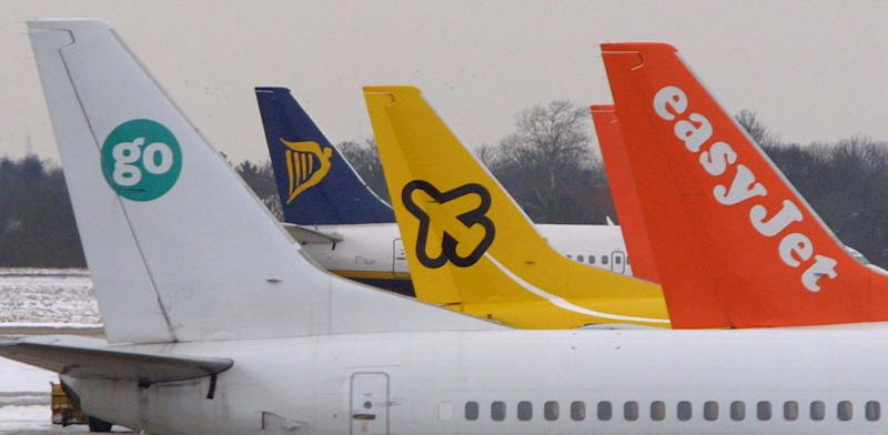 Low-cost airline planes - Go, Ryanair, Buzz and easyJet - at Stansted Airport. Ryanair increased the competition among the no-frills airlines as it struck a bargain deal to buy rival Buzz and announced a bumper order of new planes. * The Dublin-based group is aiming to turn Buzz around to profitability after buying the airline for just 15 million. 25/02/03 : Discount airline easyJet today saw shares tumble after revealing it had cut fares to encourage passengers on to its planes amid tougher economic conditions and increased competition. The group, which bought rival Go last May, said for the four months to January 31 its average fare was around 6% lower than the fare generated by the two airlines during the same period in 2001. 26/3/04: The number of low-cost airline flights taken in the UK has plunged, according to figures. Comparing the second week of March this year with the same period in 2003, there were 21% fewer domestic flights on no-frills carriers, statistics from flight information company OAG showed.