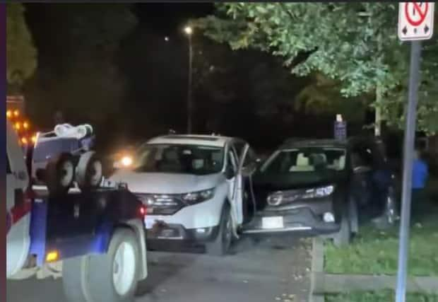 A 46-year-old man faces multiple charges, including impaired driving causing bodily harm, after a collision involving two vehicles and a pedestrian late at night on July 18, 2021. (CBC - image credit)