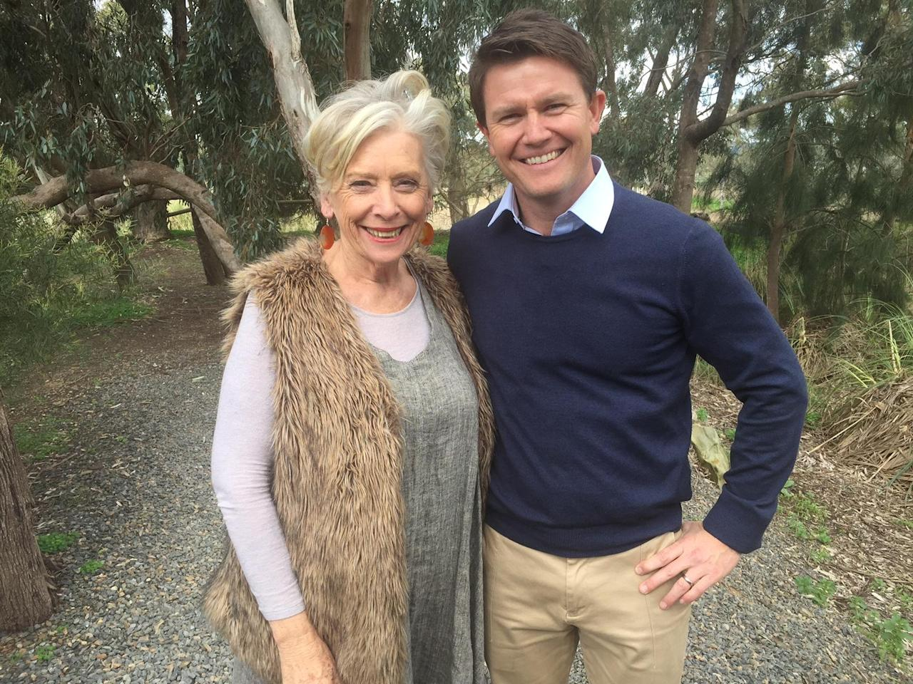 Maggie Beer poses with reporter Alex Cullen at her Farm Shop in South Australia.